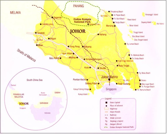 Map of the State of JohorMuar located at the northwestern part of the state(source : malaysiabudgethotel.com)