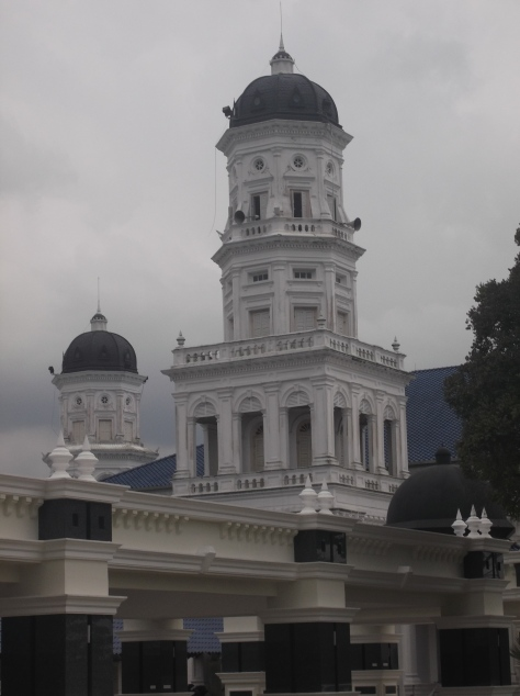 One of the minarets of the Sultan Abu Bakar State Mosque (Note the fusion of