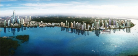 An artist's impression of the CIty of Johor Bahru's waterfront in about 25 years time. (source : irda.com.my)