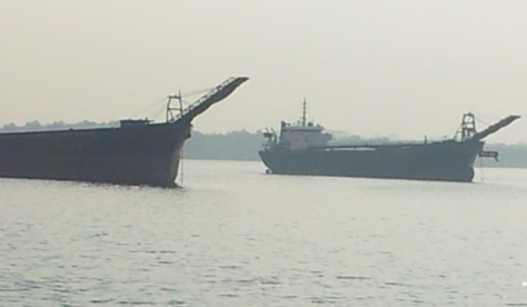 sand barges at tebrau straits