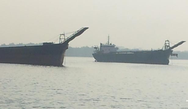 sand barges at tebrau straits