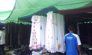 The telekung or the prayer clothing for women. Many are on offer and can come in various colours and material. (@ all rights reserved)