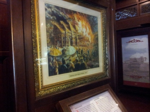 Painting of the fire that burnt down the grand palace of the Sultan of Melaka, only to be replaced by another palace, grander than the one that burnt down. (@ all rights reserved)