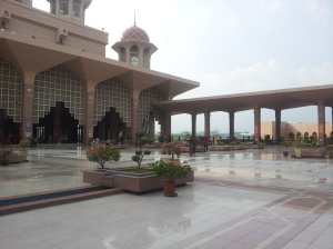 The marbled grounds of Putra Mosque, with little islands of greenery dotting the compund. @ all rights reserved