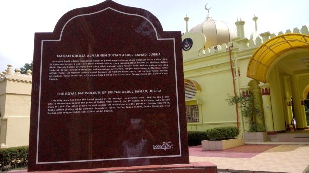 The Sultan Abdul Samad Royal Mausoleum Plaque