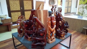 Some of the wood carvings of the Mah Meri, which is evidence of the Mah Meri's woodcraftmanship.